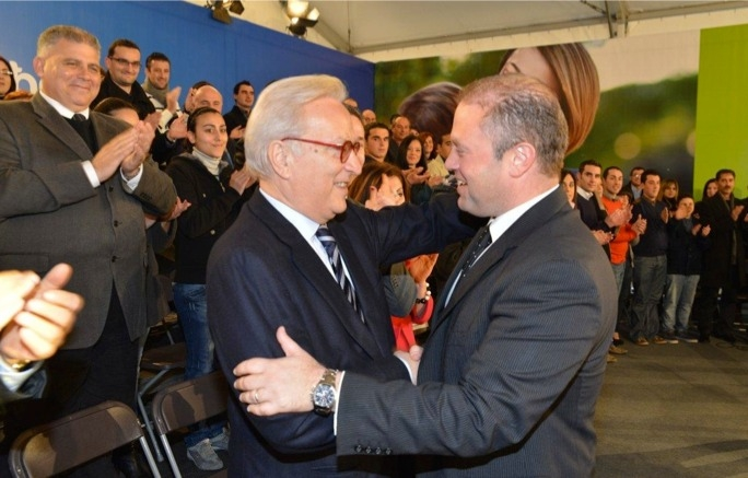 Labour leader Joseph Muscat with S&D group president Hannes Swoboda