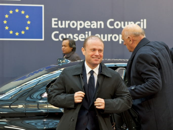 Malta's Prime Minister Joseph Muscat arrives at the European Council building in Brussels