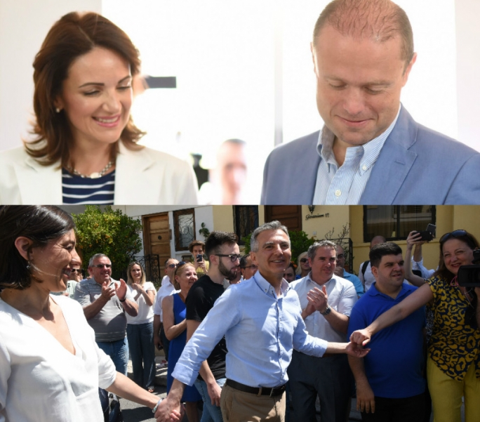 Prime Minister Joseph Muscat and Opposition leader Simon Busuttil cast their votes this morning (Photography: James Bianchi and Chris Mangion)
