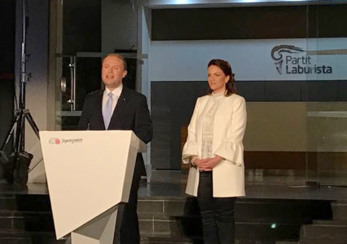 Joseph Muscat launches the Labour Party election campaign, his wife Michelle by his side