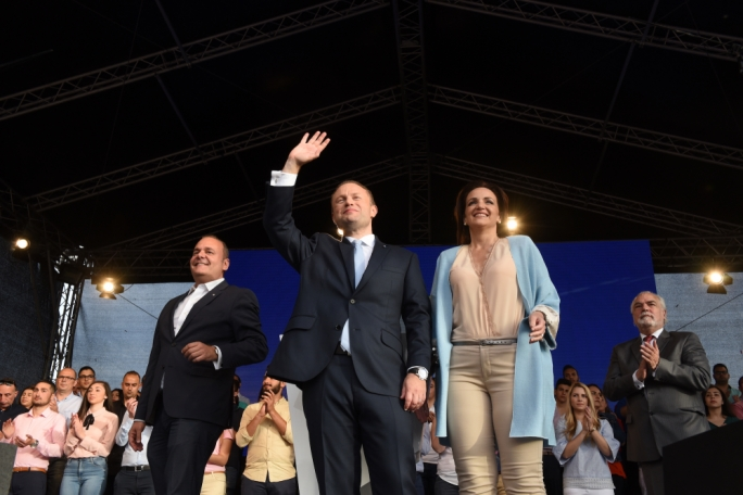 Labour leader Joseph Muscat, wife Michelle and deputy leader Chris Cardona (Photo: Chris Mangion/MediaToday)