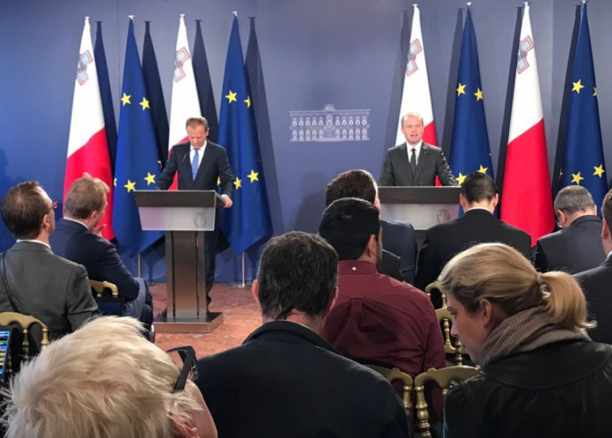 Donald Tusk (left) and Joseph Muscat addressing a press conference at Castille