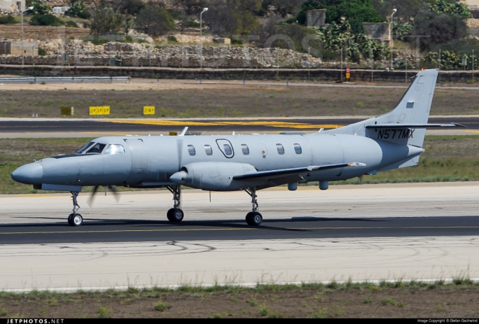 The Metroliner, registration N577MX, registered to CAE Aviation, which crashed in Luqa