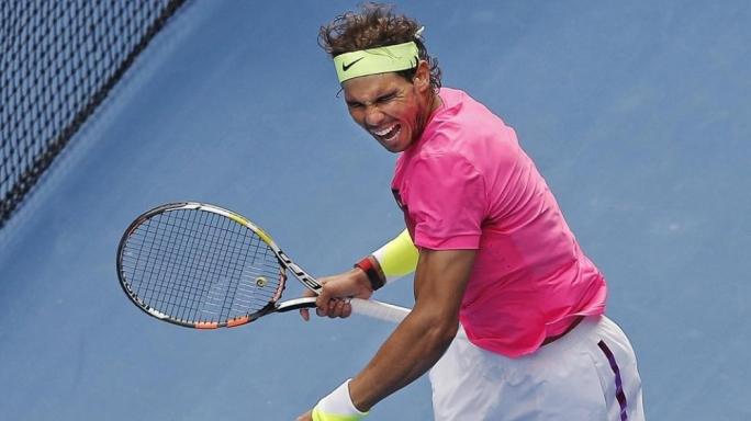 Rafael Nadal of Spain celebrates defeating Kevin Anderson of South Africa to win their men's singles fourth round match at the Australian Open 2015 tennis tournament