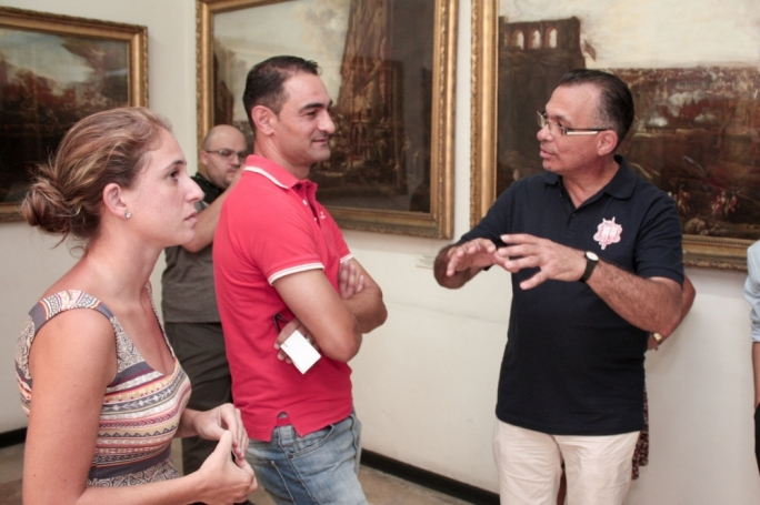 Naqsam il-MUŻA participants at the Fine Arts Museum. From left to right: Antonella Grech, Gilbert Agius and Mario Cassar
