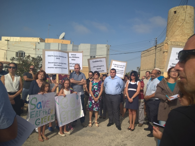 Naxxar residents protested against the proposed development of an elderly home on an ODZ land