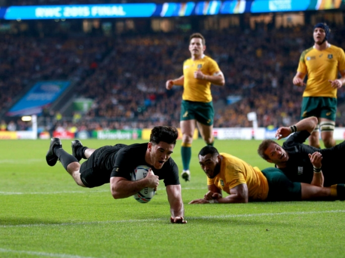 New Zealand's Nehe Milner-Skudder scores his side's first try during the Rugby World Cup Final