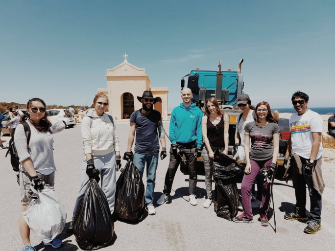 Some of the team during a 'Zibel Clean up' Event. L-Ahrax, Mellieha. April 2017