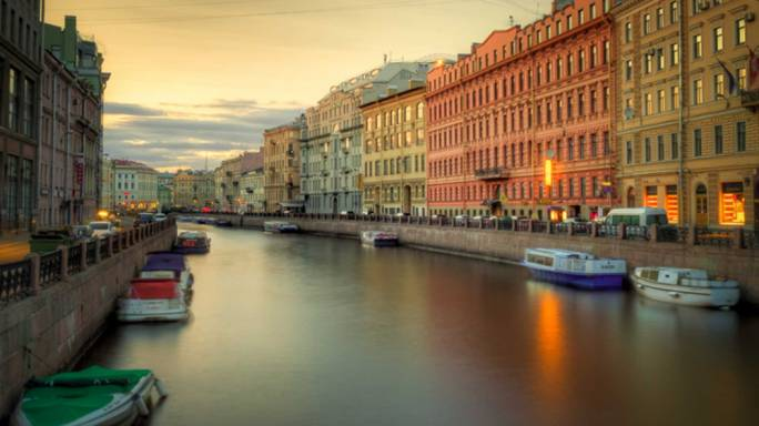 Spend a romantic evening walking along the banks of the Neva River