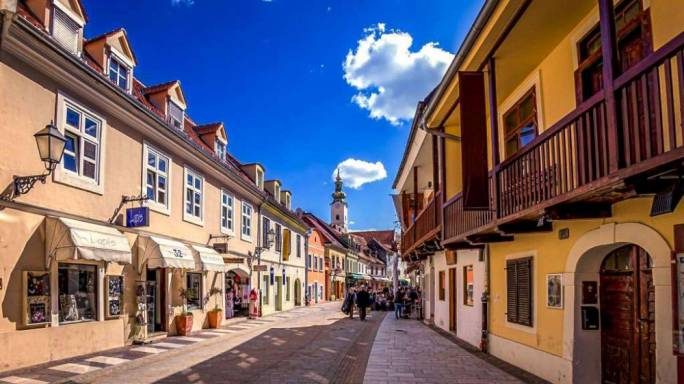 Tkalčićeva street, in the Old Town, comes alive after dark with people walking along the streets lined with a selection of bars, restaurants and boutique shops