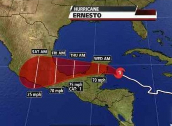Forecast of Hurricane Ernesto's path