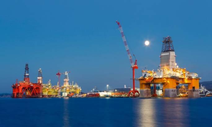 Oil platforms under maintenance near Bergen in Norway