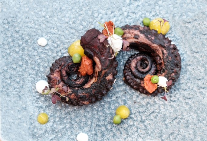 Charred Octopus, nduja, peas and lemon jam