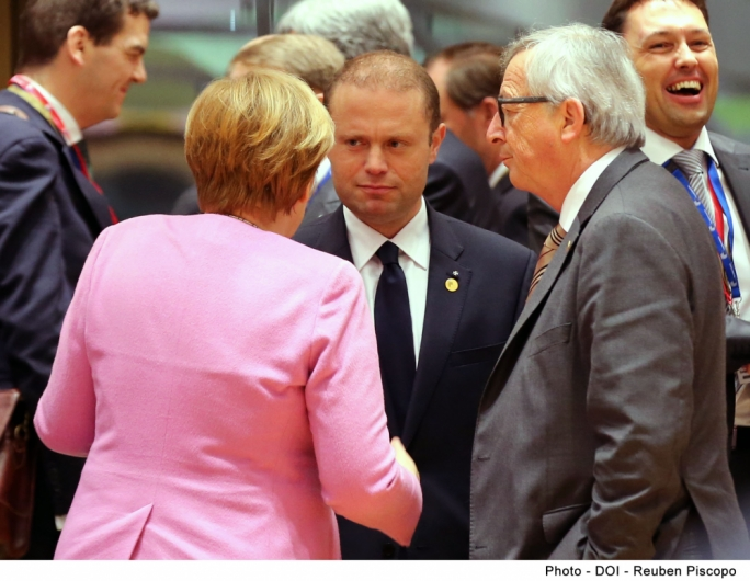 Prime Minister Joseph Muscat with German Chancellor Angela Merkel and European Commission President Jean-Claude Juncker