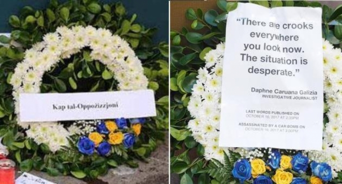 Anger after note with Adrian Delia's title is removed from flower wreath