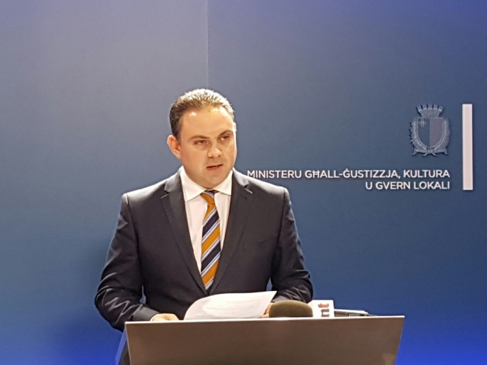 Justice Minister Owen Bonnici at this afternoon's press briefing