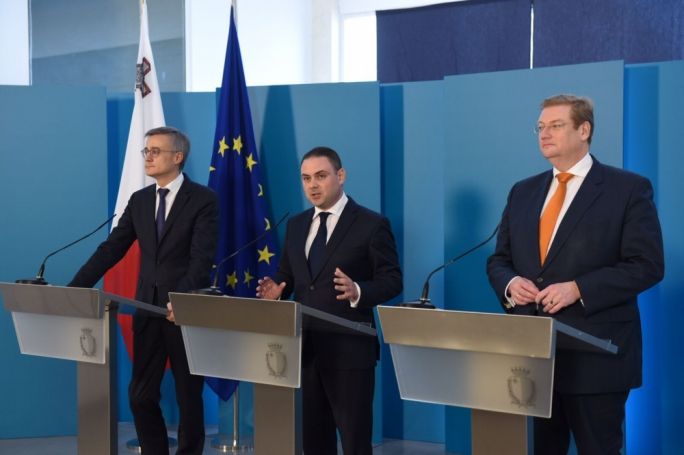 Justice ministers Felix Braz, Owen Bonnici and Ard van der Steur (from left)