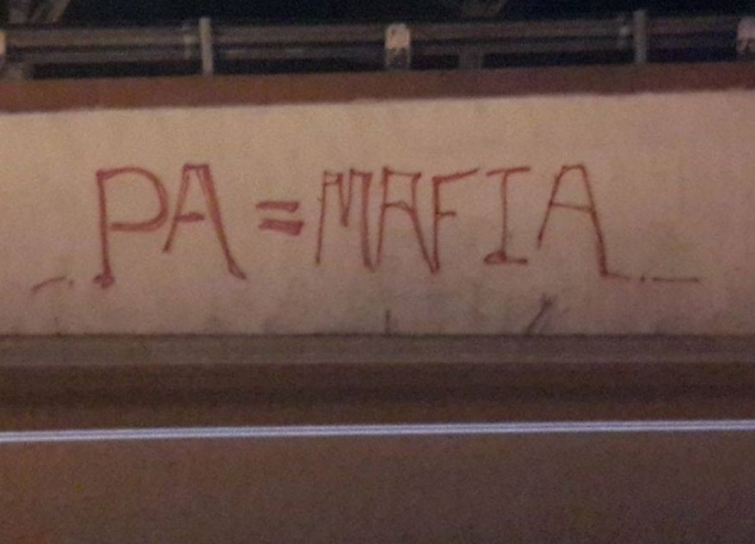 Graffitti on the street greets the PA's decision to allow two high-rise construction projects in Sliema and Mriehel