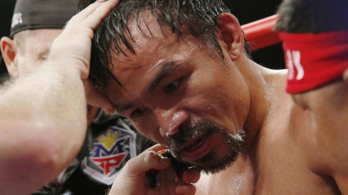 Manny Pacquiao in his corner between rounds in his welterweight unification championship bout with Floyd Mayweather Jr., May 2, 2015 at MGM Grand Garden Arena in Las Vegas, Nevada