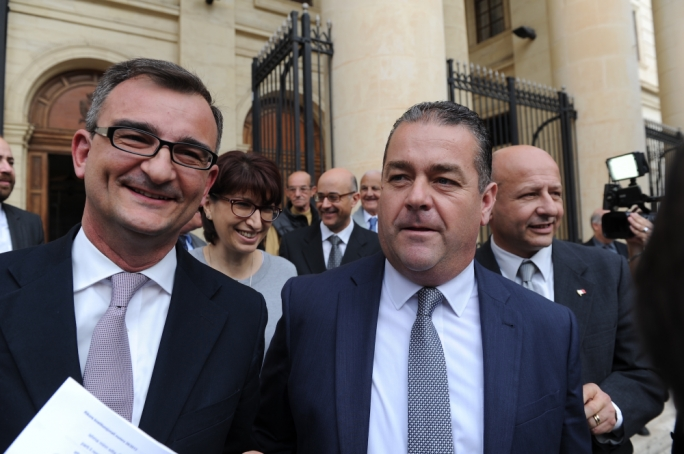 PN lawyer Paul Borg Olivier and deputy leader Beppe Fenech Adami emerge from the law courts to address reporters (Photo: James Bianchi/MediaToday)
