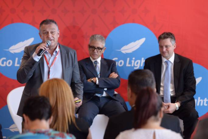 Paul Sies, chief commercial officer of Air Malta addressing news conference, during launch of 'Go Light'. (Photo: James Bianchi/MediaToday)