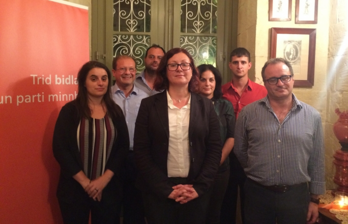 Marlene Farrugia (centre) with the other executives of the Partit Demokratiku