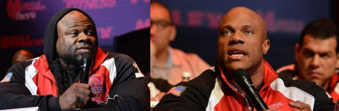 Kai Greene and Phil Heath at the 2014 Mr. Olympia press conference. Photo by Dan Ray - Muscular Development