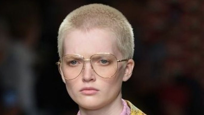 A Gucci model at the Spring Summer 2016 Milan Fashion week wears Aviator glasses