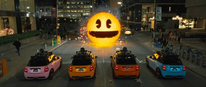 Face/Off: Pixels' protagonists face Pac-Man as alien invaders turn New York into a videogame maze