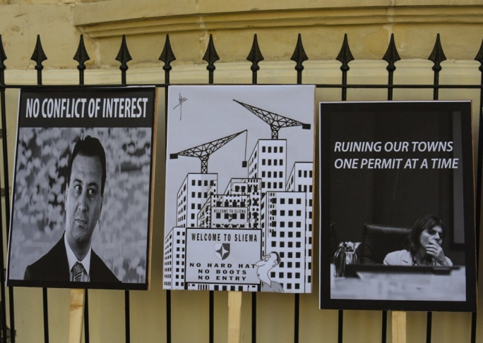 Placards lined up ahead of protest (Photo: Ivan M Consiglio/MediaToday)