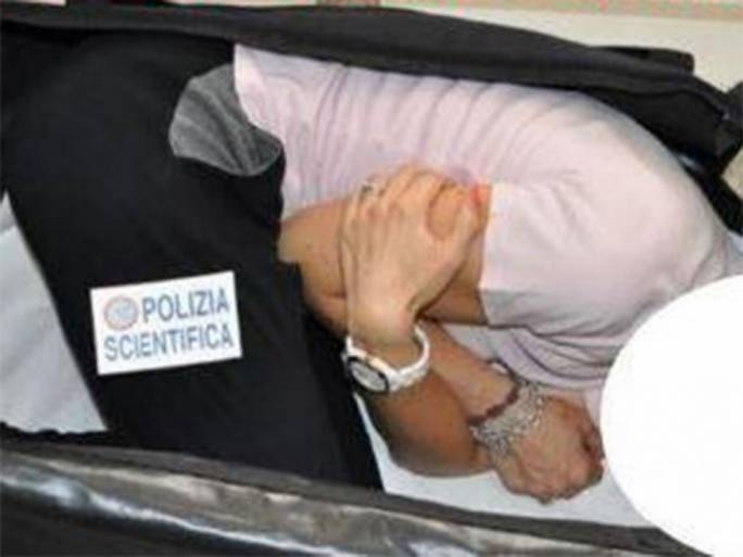 A Milan state police reconstruction showing how the model might have been stuffed inside a suitcase during the kidnapping