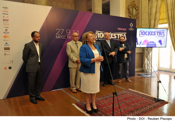 President Marie Louise Coleiro Preca addressed the launch of the sixth edition of the Rockestra concert.