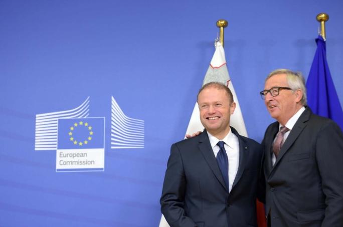 European Commission president Jean-Claude Juncker greets prime minister Joseph Muscat