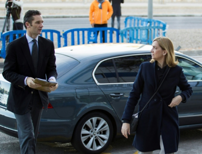 Spain's Princess Cristina and husband, former Olympic handball player, Inaki Urdangarin arrive for a hearing in their trial in Palma de Mallorca