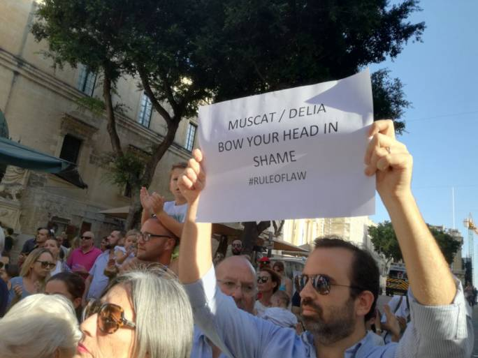 Placard claiming both the Prime Minister and Opposition leader should be ashamed of themselves