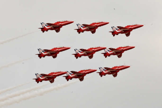 Perfectly in synch, the Red Arrows, photographed by Chris Mangion