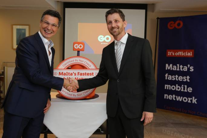 Attila Keszeg, GO CEO (left) and Josip Karlo Cindric, Head of Benchmarking & Optimisation Projects at NET CHECK at the announcement that GO has the fastest mobile network in Malta