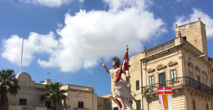 Parishioners across Malta marked Easter Sunday with traditional processions. Pictured is the statue of the Risen Christ in Zebbug.