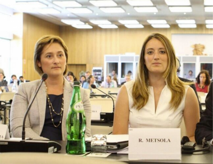 Maltese MEPs Therese Comodini Cachia and Roberta Metsola