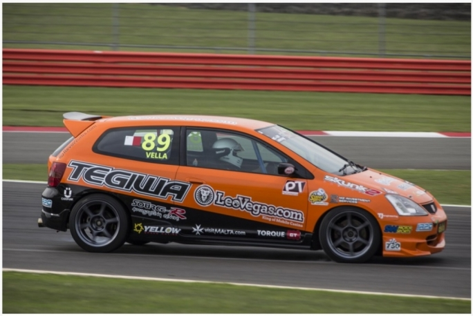 Rodren Vella on his way to 5th place at Silverstone in race 2 (photo courtesy of Chris Whitington)
