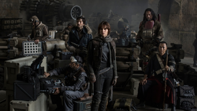 Clockwise from left: Riz Ahmed, Diego Luna, Jiang Wen, Donnie Yen and Felicity Jones complete the rag-tag bunch that is 'Rogue One'
