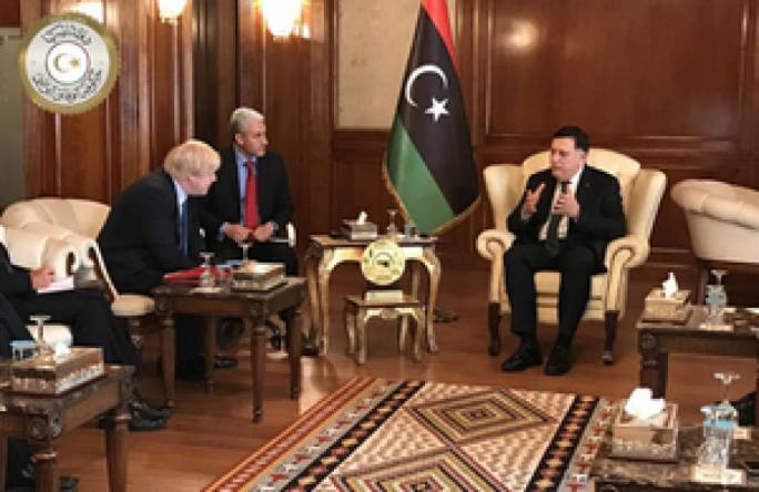 File photo: Foreign Secretary Boris Johnson, Libyan Prime Minister Fayyez Al-Serraj and Foreign Minister Mohamed Siala