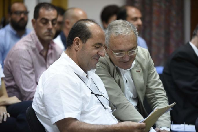 Fish farm operator Salvu Ellul (left) with his lawyer Franco Vassallo