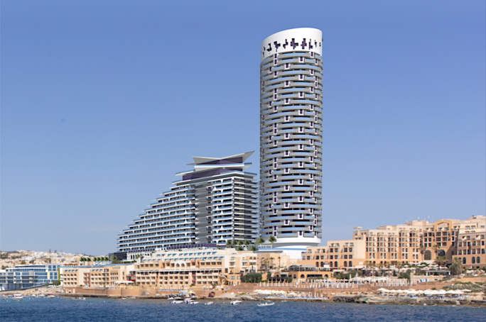 Photomontage of the City Centre project by the db Group in St George's Bay