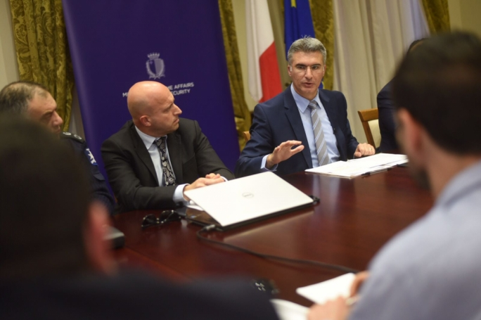 The Malta Crime Report was presented by criminologist Saviour Formosa and Home Affairs Minister Carmelo Abela (Photo: James Bianchi/MediaToday)