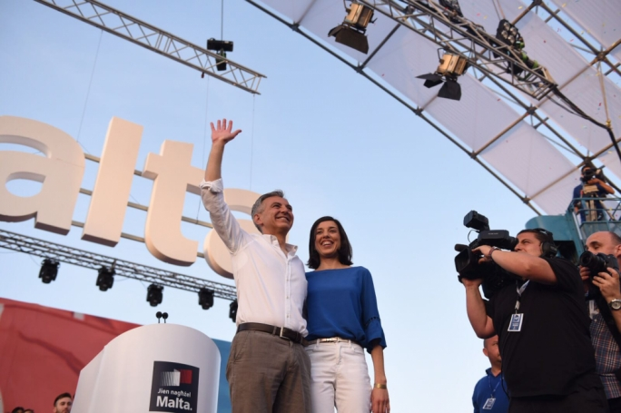 PN leader Simon Busuttil and his partner Kristina Chetcuti at tonight's mass meeting. Photo: James Bianchi