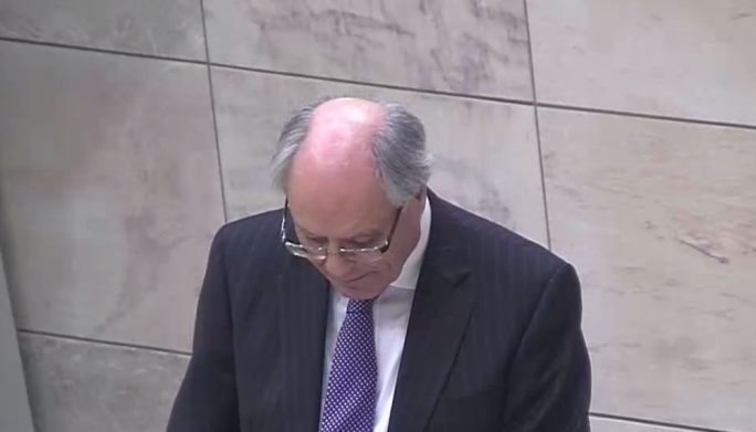 Finance minister Edward Scicluna delivers a speech in Parliament.