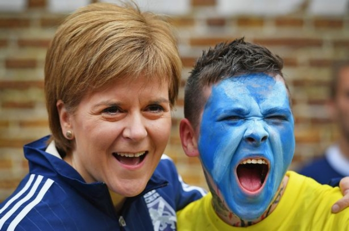 Flower of Scotland: First Minister Nicola Sturgeon with a proud independence supporter