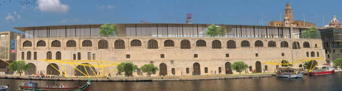 An artistic impression of how the three faculties at Dock No 1 in Cospicua