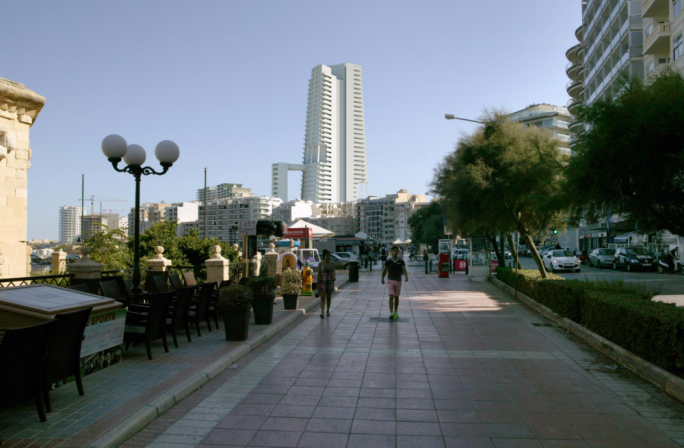 The Sliema Townsquare project, rendered on a view from the Sliema seafront